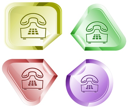 Push-button telephone. Vector sticker. Stock Photo - 9271599