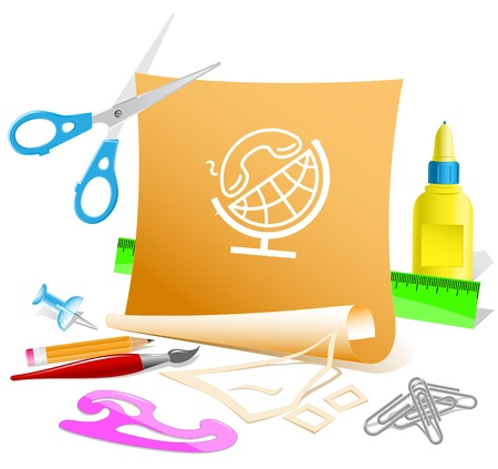 pva: Globe and handset. Vector paper template.