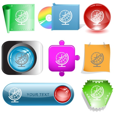 Globe and clock. Vector internet buttons. photo