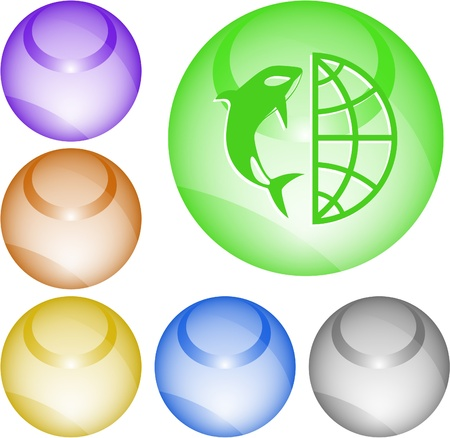 Globe and shamoo. Vector interface element. Stock Photo - 9506440
