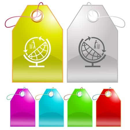 Globe and recycling symbol. Vector tags. photo