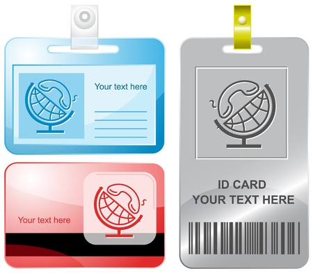 Globe and handset. Vector id cards. photo