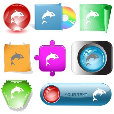 Killer whale. Vector internet buttons. photo