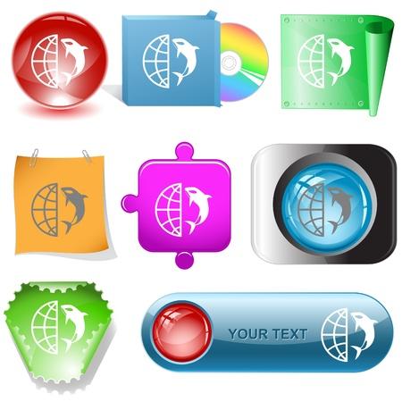 Globe and shamoo. Vector internet buttons. photo