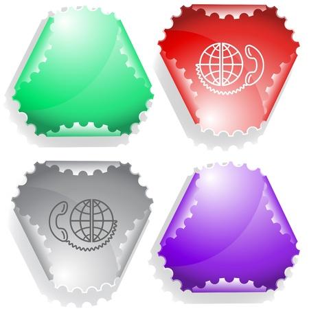 declinate: Global communication. Vector sticker. Stock Photo