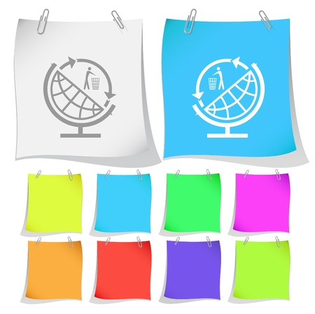 Globe and recycling symbol. Vector note papers. Stock Photo - 9528055