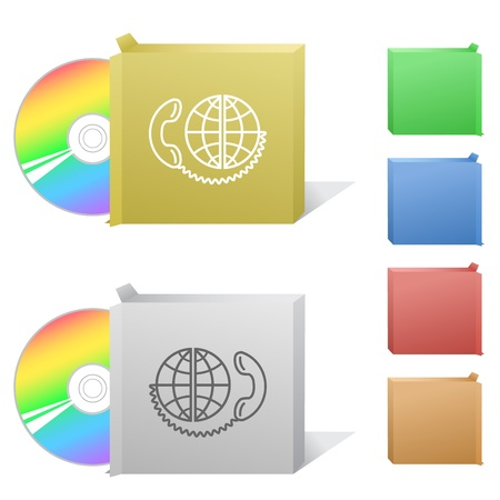 cd r: Global communication. Box with compact disc.