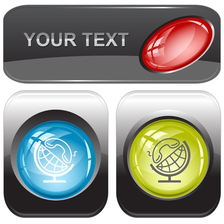 Globe and handset internet buttons. Stock Photo - 9603507