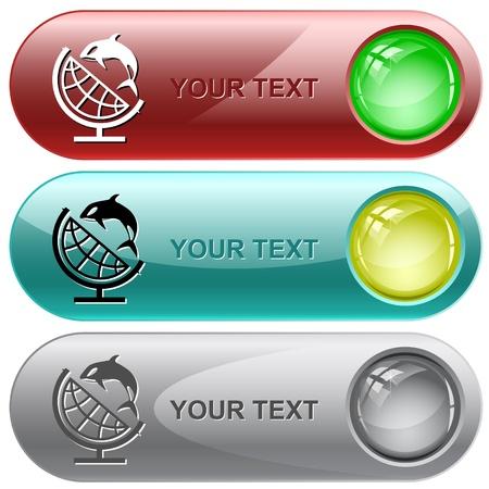 Globe and shamoo. Vector internet buttons. Stock Photo - 10385981
