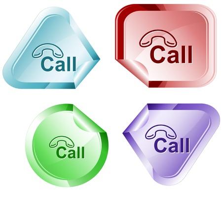 declinate: Hotline. Vector sticker. Stock Photo
