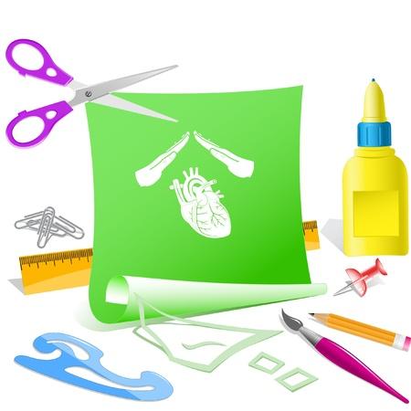 pva: Heart protect. Paper template. Raster illustration. Stock Photo