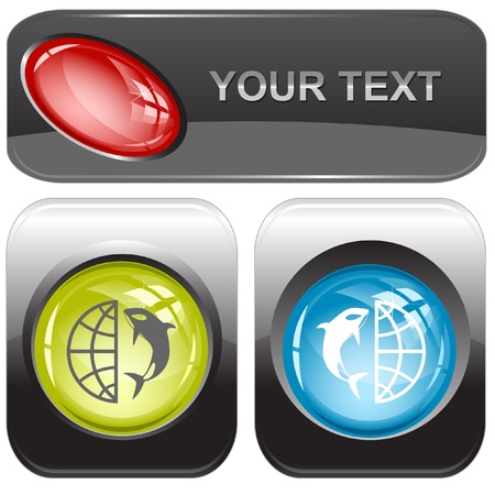 Globe and shamoo internet buttons. photo