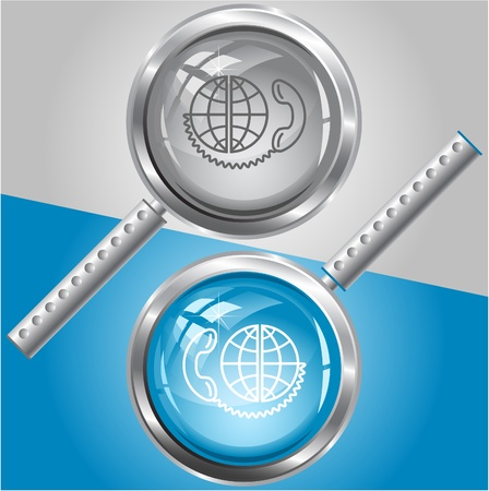 scrutiny: Global communication. Vector magnifying glass.