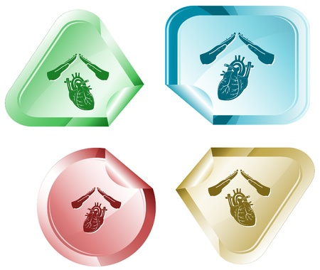 declinate: Heart protect. sticker. Stock Photo