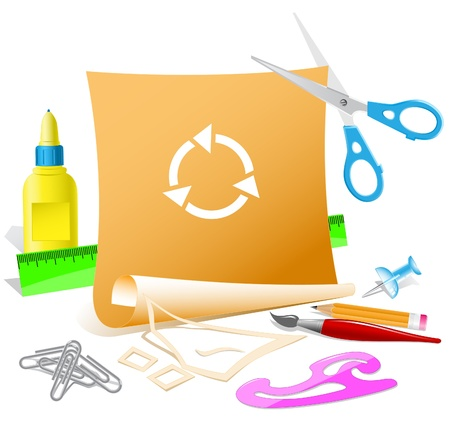 pva: Recycle symbol. Paper template. Raster illustration. Stock Photo