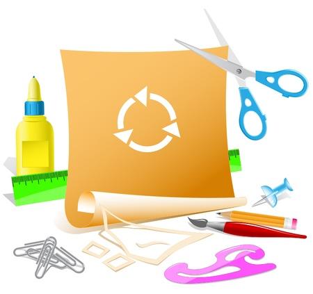 pva: Recycle symbol. Paper template. Raster illustration. Stock Photo