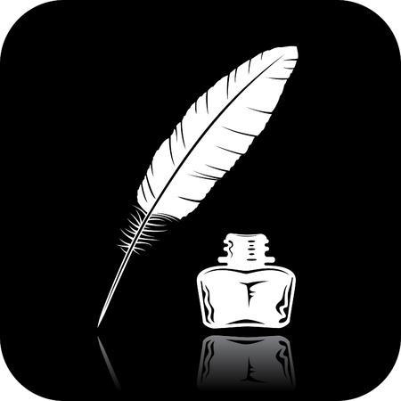 pluma de escribir antigua: Pluma y tinta icono de la botella Foto de archivo
