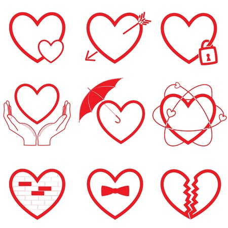 Heart icons. Red and white. Simply change. Stock Photo - 11087758