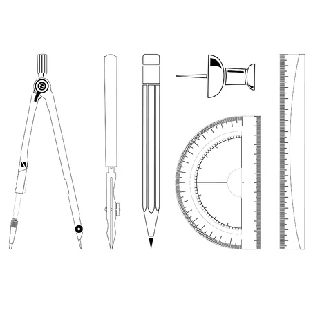 millimeter: Icons of drawing instrument Stock Photo