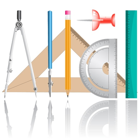 three cornered: vector icons of drawing instrument. All layers are grouped.