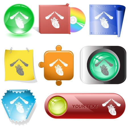 Heart protect. Vector internet buttons. Stock Photo - 11147034