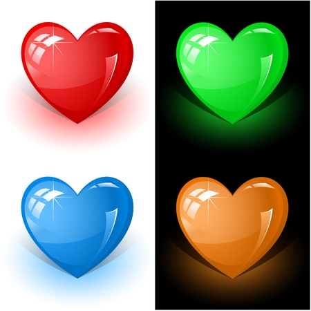 vector 3d icons of color heart photo