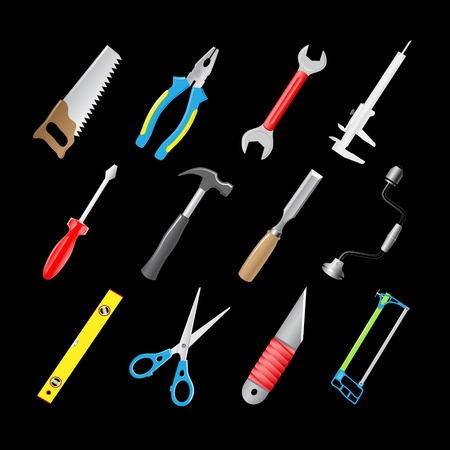 vector 3d icons of joiners tools photo