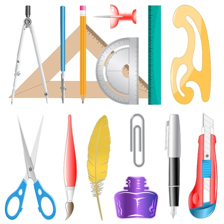 vector icons of drawing instrument photo