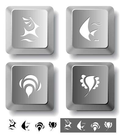 spawn: Animal icon set. Deer, bird, bee, fish.  Computer keys. Vector illustration.