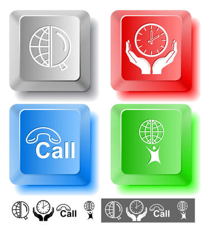 Business icon set. Little man with globe, globe and magnifying glass, clock in hands, hotline.  Computer keys. Vector illustration. illustration