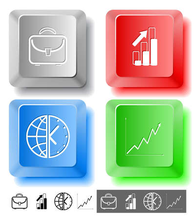 Business icon set. Briefcase, globe and clock, diagram. Computer keys. Vector illustration. illustration