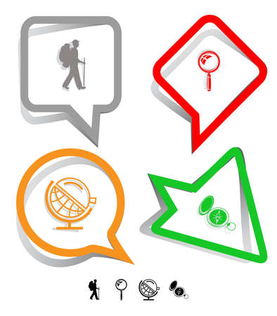 lookup: Education icon set. Magnifying glass, compass, traveller, globe and loupe. Paper stickers. Vector illustration. Stock Photo