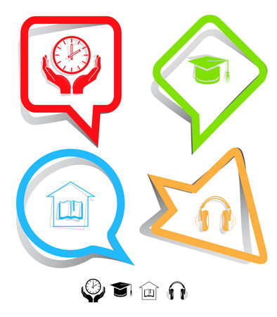 Education icon set. Headphones, clock in hands, graduation cap, library. Paper stickers. Vector illustration. illustration