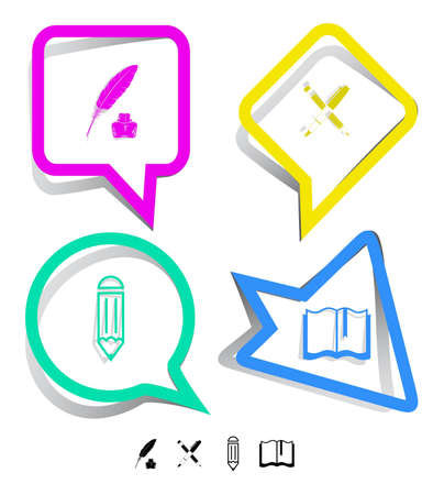 Education icon set. Ink pen and pencil, pencil, feather and ink bottle, book. Paper stickers. Vector illustration. illustration