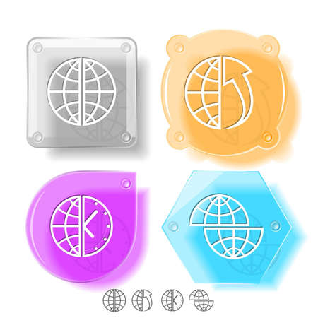 Business icon set. Globe, globe and array up, shift globe, globe and clock. Glass buttons. Vector illustration. Eps10. Stock Illustration - 12920181