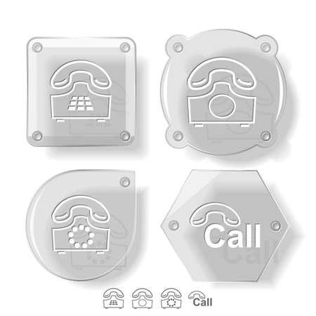 Business icon set. Hotline, old phone, push-button telephone. Glass buttons. Vector illustration. Eps10. illustration