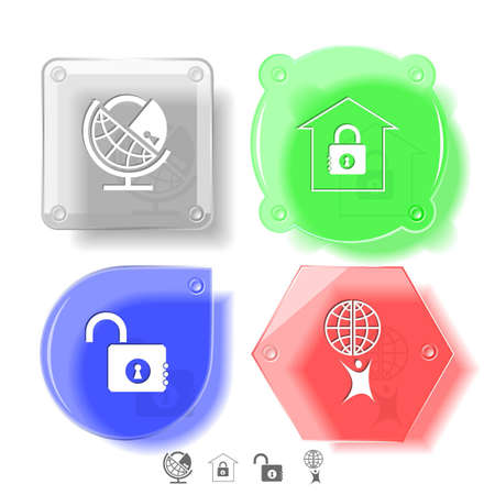 Business icon set. Little man with globe, globe and lock, bank, opened lock. Glass buttons. Vector illustration. Eps10. Stock Illustration - 12919207