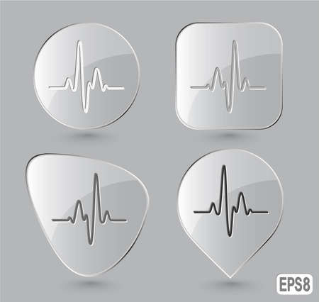 Cardiogram. Glass buttons. Vector illustration. Stock Illustration - 12917759