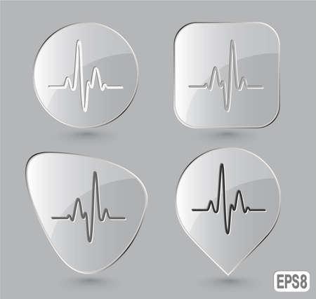 Cardiogram. Glass buttons. Vector illustration. Stock Illustration - 12917759