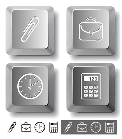 Business icon set. Clip, calculator, briefcase, clock.  Computer keys. Vector illustration. illustration