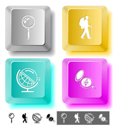 lookup: Education icon set. Magnifying glass, compass, traveller, globe and loupe. Computer keys. Vector illustration.