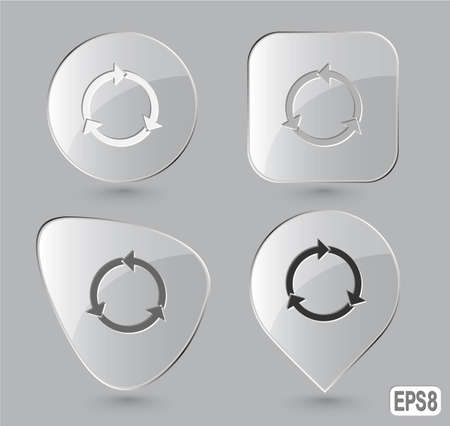 Recycle symbol. Glass buttons. Vector illustration. Stock Illustration - 12920324