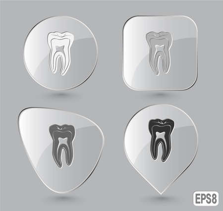 Tooth. Glass buttons. Vector illustration. illustration