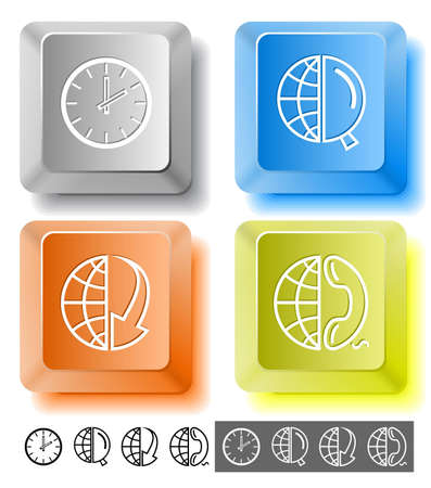 lookup: Business icon set. Globe and array down, globe and magnifying glass, globe and phone, clock. Computer keys. Vector illustration.