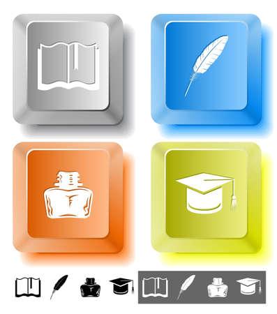 Education icon set. Graduation cap, book, inkstand, feather. Computer keys. Vector illustration. illustration