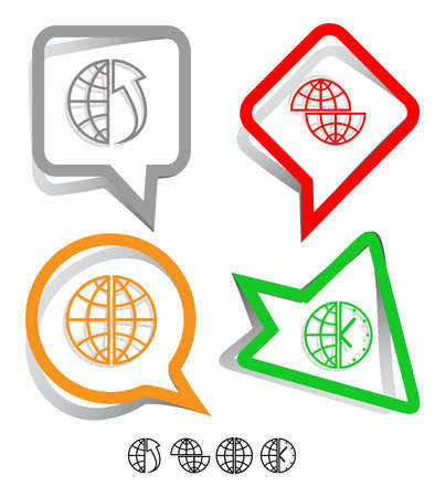 Business icon set. Globe, globe and array up, shift globe, globe and clock. Paper stickers. Vector illustration. illustration