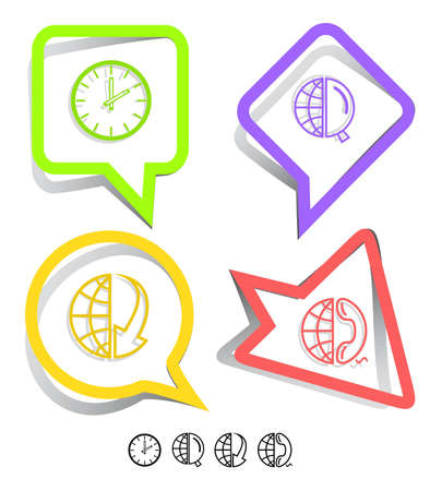 lookup: Business icon set. Globe and array down, globe and magnifying glass, globe and phone, clock. Paper stickers. Vector illustration.