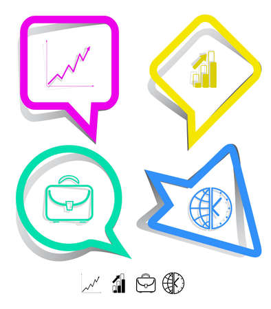 Business icon set. Briefcase, globe and clock, diagram. Paper stickers. Vector illustration. illustration