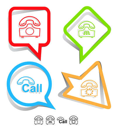 Business icon set. Hotline, old phone, push-button telephone. Paper stickers. Vector illustration. Stock Illustration - 12920471