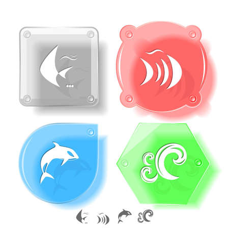 spawn: Animal icon set. Fish, Killer whale, wave.  Glass buttons. Vector illustration. Eps10.